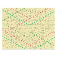 Abstract Yellow Geometric Line Pattern Rectangular Jigsaw Puzzl