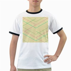 Abstract Yellow Geometric Line Pattern Ringer T-Shirts