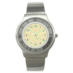 Abstract Yellow Geometric Line Pattern Stainless Steel Watch