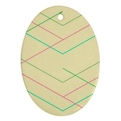 Abstract Yellow Geometric Line Pattern Oval Ornament (Two Sides)