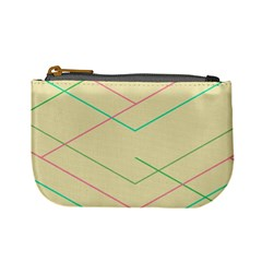 Abstract Yellow Geometric Line Pattern Mini Coin Purses
