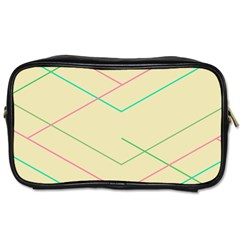 Abstract Yellow Geometric Line Pattern Toiletries Bags