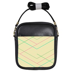 Abstract Yellow Geometric Line Pattern Girls Sling Bags