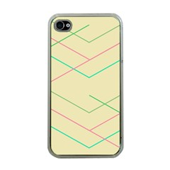 Abstract Yellow Geometric Line Pattern Apple Iphone 4 Case (clear)