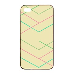Abstract Yellow Geometric Line Pattern Apple iPhone 4/4s Seamless Case (Black)