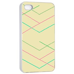 Abstract Yellow Geometric Line Pattern Apple Iphone 4/4s Seamless Case (white)
