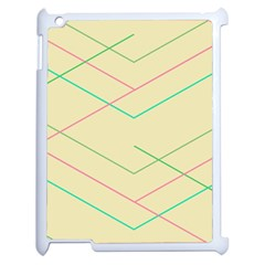 Abstract Yellow Geometric Line Pattern Apple iPad 2 Case (White)