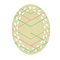 Abstract Yellow Geometric Line Pattern Oval Filigree Ornament (Two Sides)