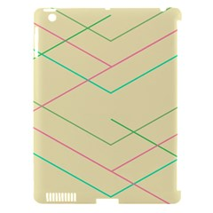Abstract Yellow Geometric Line Pattern Apple iPad 3/4 Hardshell Case (Compatible with Smart Cover)