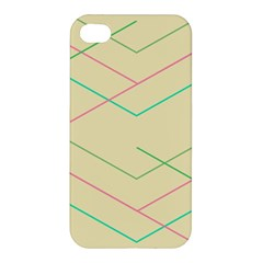 Abstract Yellow Geometric Line Pattern Apple Iphone 4/4s Premium Hardshell Case