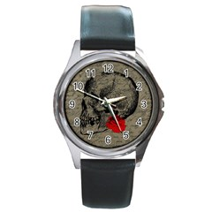 Skull and rose  Round Metal Watch