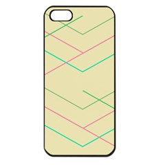 Abstract Yellow Geometric Line Pattern Apple Iphone 5 Seamless Case (black)