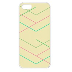 Abstract Yellow Geometric Line Pattern Apple Iphone 5 Seamless Case (white)