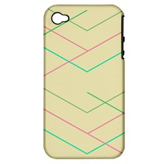 Abstract Yellow Geometric Line Pattern Apple iPhone 4/4S Hardshell Case (PC+Silicone)