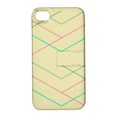 Abstract Yellow Geometric Line Pattern Apple iPhone 4/4S Hardshell Case with Stand