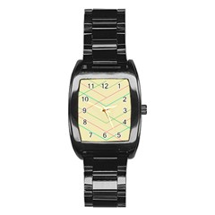 Abstract Yellow Geometric Line Pattern Stainless Steel Barrel Watch
