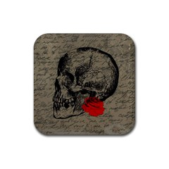 Skull and rose  Rubber Square Coaster (4 pack)