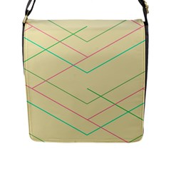 Abstract Yellow Geometric Line Pattern Flap Messenger Bag (L)
