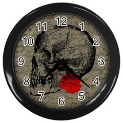 Skull and rose  Wall Clocks (Black)