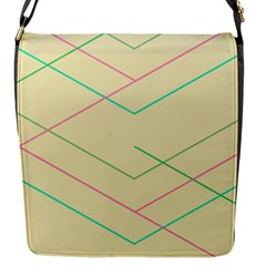 Abstract Yellow Geometric Line Pattern Flap Messenger Bag (S)