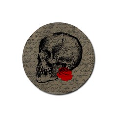 Skull and rose  Rubber Coaster (Round)