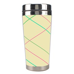 Abstract Yellow Geometric Line Pattern Stainless Steel Travel Tumblers