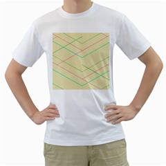 Abstract Yellow Geometric Line Pattern Men s T-Shirt (White)