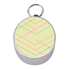 Abstract Yellow Geometric Line Pattern Mini Silver Compasses