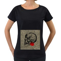Skull and rose  Women s Loose-Fit T-Shirt (Black)