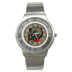Skull and rose  Stainless Steel Watch