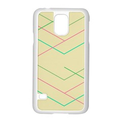 Abstract Yellow Geometric Line Pattern Samsung Galaxy S5 Case (White)