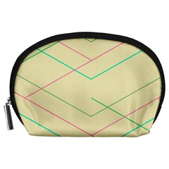 Abstract Yellow Geometric Line Pattern Accessory Pouches (Large)