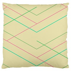 Abstract Yellow Geometric Line Pattern Large Flano Cushion Case (One Side)