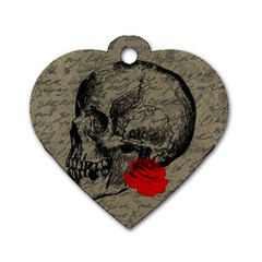Skull and rose  Dog Tag Heart (One Side)