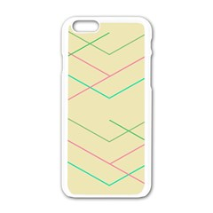 Abstract Yellow Geometric Line Pattern Apple Iphone 6/6s White Enamel Case