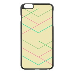 Abstract Yellow Geometric Line Pattern Apple iPhone 6 Plus/6S Plus Black Enamel Case