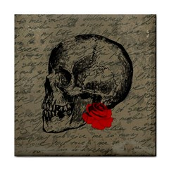 Skull and rose  Face Towel