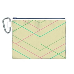 Abstract Yellow Geometric Line Pattern Canvas Cosmetic Bag (L)