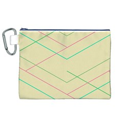 Abstract Yellow Geometric Line Pattern Canvas Cosmetic Bag (XL)