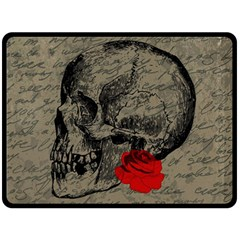 Skull and rose  Fleece Blanket (Large)