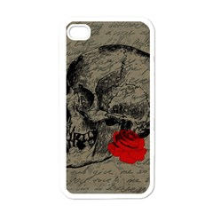 Skull and rose  Apple iPhone 4 Case (White)