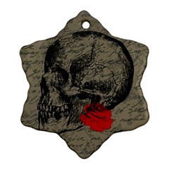 Skull and rose  Snowflake Ornament (Two Sides)