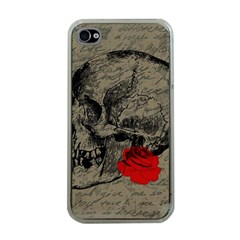 Skull and rose  Apple iPhone 4 Case (Clear)