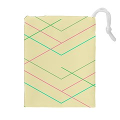 Abstract Yellow Geometric Line Pattern Drawstring Pouches (Extra Large)