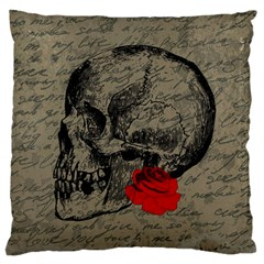 Skull and rose  Standard Flano Cushion Case (One Side)