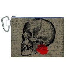 Skull and rose  Canvas Cosmetic Bag (XL)