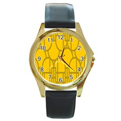 The Michigan Pattern Yellow Round Gold Metal Watch