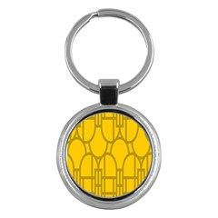 The Michigan Pattern Yellow Key Chains (round)