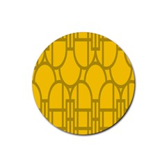 The Michigan Pattern Yellow Rubber Round Coaster (4 pack)