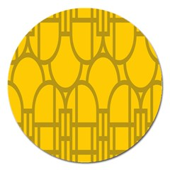 The Michigan Pattern Yellow Magnet 5  (round)